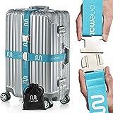 OneMate  Koffergurt-Set mit Metallschnalle (für 2 Koffer) – Unfassbar robuster Gepäckgurt für 100% sichere Reisen | GRATIS Samtbeutel & Zufriedenheitsgarantie