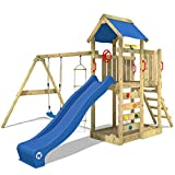 WICKEY Spielturm MultiFlyer Kletterturm Spielplatz Garten mit Schaukel, Rutsche und Kletterwand, blaue Rutsche + blaue Plane