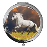 metALUm Premium - Taschen - Spiegel aus verchromten Metall mit galoppierendem Pferd und edler, hochglänzender Kunstharzbeschichtung - ein tolles Accessoire für jede Frau oder als besonderes Geschenk