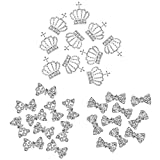 COM-FOUR 30-teiliges Set 3D NailArt Nagelschmuck in verschiedenen Formen mit Strass