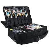Travelmall Profi-Kosmetikkoffer für die Reise, dreischichtig, 41,9 x 31 x 14 cm, Schultergurt verstellbar, für Make-up-Pinsel, Styling-Tools, Maniküre-Zubehör usw., passt auf Rollkoffer schwarz Medium