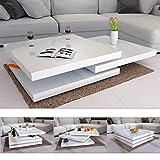 Deuba Couchtisch Hochglanz weiß 360° drehbar Cube Design modern 80x80cm - Wohnzimmertisch Beistelltisch Design Lounge Tisch Sofatisch