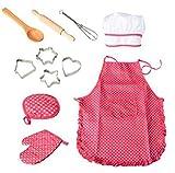 11-teiliges Koch- und Backset für Kinder, Kochset für Kinder, Küchen- und Spielset mit Schürze für Mädchen, Kochmütze, Kochhandschuh und Utensilien für Kleinkinder, Karriere, Rollenspiele für Kinder