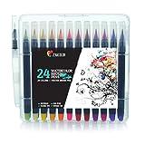 Zenacolor 24 Wasserfarben Pinselstifte und 1 Aqua Brush Ungiftige Wasserbasis Markers - Aquarell Wasserfarben Pinselstift - Weiche und Flexible Spitze, für Kalligrafie, Färbung oder Manga