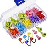 YJZ 100Stück Stricken Häkeln Locking Maschenmarkierer Mix Farbe und 20Stück 2Größen Nadeln Maschenstopper