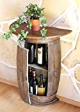DanDiBo Wandtisch Tisch Weinregal Weinfass 0373-R Braun Schrank Fass aus Holz 73 cm Beistelltisch Konsole Wandkonsole Bar halbrund D