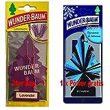 Wunderbaum 24er-Box Lavendel Original Lufterfrischer Duftbaum inkl. 1 Stück Original Power Wunder-Baum Duftbäumchen Little Trees (Lavendel)