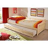 Funktionsbett 90*200 inkl 2 Rollroste Kiefer massiv natur Gästebett Gästeliege Kinderbett Jugendliege Tandembett Massivholzbett Kinderzimmer