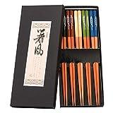 ZITFRI 5 Farben EssStäbchen 5er Set Chopsticks Chinesische Stäbchen Asiatisches Besteck - Hohe Qualität