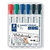 Staedtler Whiteboard-Marker Lumocolor 351, Rundspitze ca. 2 mm Linienbreite, Set mit 6 Markern, Hohe Qualität Made in Germany, trocken und rückstandsfrei abwischbar von Whiteboards, 351 WP6 x
