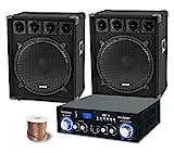 McGrey PA Komplettset DJ Anlage PowerDJ-2500 (System mit Partyboxen, Lautsprecher, 2 x 800 Watt, Bluetooth-Endstufe, Verstärker, Lautsprecherkabel)