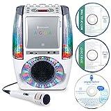 Singing Machine SML605W UA Tanzendes Wasserbrunnen Bluetooth Karaoke-System mit LED Disco Lichtern, kabelgebundenem Mikrofon und 3 CD weiß