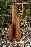 Cortenstahl-Säulenbrunnen mit LED-Beleuchtung - 109cm