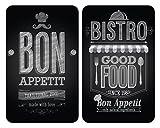 Wenko 2521483100 Herdabdeckplatte Universal Bon Appetit für alle Herdarten, Gehärtetes Glas, 2-er Set, mehrfarbig, 52 x 30 x 5,5 cm