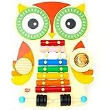 Musiktisch / Musikinstrument aus Holz, musikcenter mit Xylophon / Glockenspiel für Kleinkinder mit 2 Trommeln, Guiro und Cymbal mit 2 Klopfer. Design Eulen. 18 Monaten +, Xylophon Baby und Kinder holz musikspielzeug und Kleinkind Musikinstrumente Spielzeug Geschenk