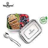 YouPlanet Premium Lunchbox 1000ml aus Metall - Edelstahl mit Trennwand - BPA Frei - Bento Box für Kinder und Erwachsene - Brotdose, Brotbüchse, Vesperdose - inkl. GRATIS Besteck