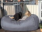Der größte Sitzsack Europas - Riesiger Sitzsack - 1500 L Memory Schaumstoff Füllung und Waschbarem Kuschelbezug in Silber-Grau - Gemütliches Sofa, Bett, Bean Bag für Kinder und Erwachsene