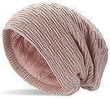 Hatstar Warme gefütterte Feinstrick Beanie Mütze mit Flecht Muster und Sehr Weichem Fleece Innenfutter Wintermütze Damen Herren (5 | altrose)