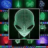 3D Lampe 3D Leuchte 3D LED Stimmungslicht. 7 Farben - 81 verschiedene Motive, hier Alien ca. 24x13cm Inkl.sockel - 3D Illusion Dekolicht mit USB Anschluß und 220V USB Netzteil