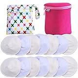 Baby Bliss Premium-Stilleinlagen Waschbar & Konturiert | Luxus-Set: 14er-Pack + Wäsche- + Reisebeutel | Extra Weich, Super Saugstark, Auslaufsicher | Wiederverwendbar, Atmungsaktiv und Sanft zur Haut