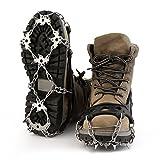 HappGrand Schuhspikes Schuhkrallen mit 18 Edelstahlspikes, Spikes für Schuhe Eis Schnee Trekkingschuhe Wanderhalbschuhe