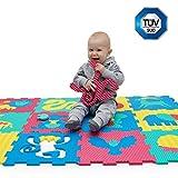 Puzzlematte für Babys und Kinder, Spielteppich | 12 Schaumstoffplatten mit Tieren in einer Aufbewahrungstasche | +20% dicker Spielmatte | Nicht giftig, schadstofffrei, TÜV geprüft Kinderteppich