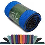 Rutschfestes Yogahandtuch mit Silikon-Dots (Noppen) »Chandra« Anti-Slip Oberfläche daher ein echtes Premium Yoga Towel bzw. Sporthandtuch. Ideal für Hot Yoga und Ahstanga rutschfest, hautfreundlich, hohe Feuchtigkeitsaufnahme (d.h. sehr saugfähig) & hohe Bodenhaftung (Silikon-Beschichtung) - Größe ca. 183 x 62 cm / erhältlich in den Trendfarben: hellblau