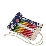 Amoyie Canvas Faltbare Stifterolle für 36 Buntstifte und Bleistifte, Roll-up Mäppchen für Künstler, Verpackung Mehrzwecktasche für Reisen / Schule / Büro / Kunst (keine Schreibzeuge im Lieferumfang), Balett Mädchen