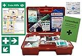 Erste-Hilfe-Koffer GASTRO M5+ Komplettpaket für Betriebe DIN/EN 13157 inkl. Augenspülung + Brandgel + detektierbare Pflaster + Hydrogelverbände + Aushang &Aufkleber
