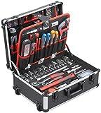 Meister Werkzeugtrolley 156-teilig  Werkzeug-Set  Mit Rollen  Teleskophandgriff   Profi Werkzeugkoffer befüllt   Werkzeugkiste fahrbar auf Rollen   Werkzeugbox komplett mit Werkzeug   8971440