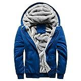 MRULIC Herren Hoodie Pullover Winter Warme Fleece Jacke Zipper Sweater Jacke Outwear Mantel RH-054(Blau,EU-48/CN-XXL)