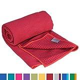 GRIP2 Yoga Towel, Yoga-Handtuch mit Antirutsch-Noppen, rutschfest, Mikrofaser-Yogatuch, sehr gut für Hot Yoga (wein-rot), Yogamattenauflage, antibakteriell