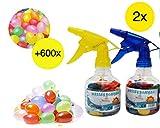 TK Gruppe Timo Klingler Wasserbomben Wasserballons Luftballons Set mit 2X Wasserbombenpumpen inkl. 600x Wasserbomben Füllstation Wasserspielzeug Schnellfüller