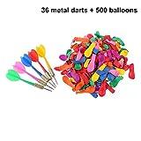 TOYMYTOY 36 Stück Dartpfeile 500 Stück Ballon Spiel Set