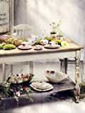 Villeroy & Boch Mariefleur Serve & Salad Schale flach / Hochwertige Schale aus weißem Porzellan mit Blumenmuster / 1 x Porzellanschale: 34 cm