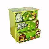 Homestyle4u Kinder Dschungel Kommode mit 3Schubladen, Holz, mehrfarbig, 30x 30x 30cm