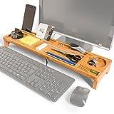 PIETVOSS Schreibtisch Ordnungssystem Organizer aus Bambus-Holz. Stiftehalter, Handy-Ständer und Aufsatz zur Aufbewahrung von Tastatur und Maus