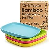 GET FRESH Bambus Kinderteller 4 Stück, Bambus Kindergeschirr, umweltfreundliches Kinder Geschirr Set, BPA frei (mehrere Farben), Kinder Bambusteller für eine gesunde Ernährung