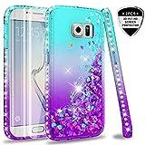 LeYi Hülle Galaxy S6 Edge Glitzer Handyhülle mit Full Cover 3D PET Schutzfolie(2 Stück),Diamond Rhinestone Bumper Schutzhülle für Case Samsung Galaxy S6 Edge Handy Hüllen ZX Gradient Turquoise Purple