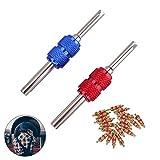 OZUAR 2 Stücke Ventil Werkzeug Stahlwelle Doppelkopf Reifen ventileinsatz Reparatur-Werkzeuge Zum Auto Fahrrad mit 20x Ventil Kerne (Rot und Blau)