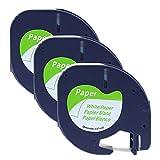 3er-Packung 91220 91200 S0721520 Papierband, 10697 Papieretiketten, Kompatibel Etikettenband Papier für Dymo LetraTag Etikettiergeräte LT-100H LT-100T QX50 XR XM 2000 Plus Schwarz auf Weiß 12mm x 4m