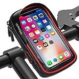 LEMEGO Wasserdicht Fahrradlenkertasche Handyhalterung Handyhalter Fahrrad Tasche Fahrradtasche Rahmentaschen für Handy GPS Navi und andere Edge bis zu 6 Zoll Geräte (Rot)
