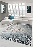 Designer Teppich Moderner Teppich Wollteppich Meliert Wohnzimmer Teppich Wollteppich Ornament Türkis Grau Cream Größe 80 x 300 cm