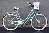 28' Zoll Alu Damen Fahrrad 7 Gang Shimano Nexus Nabendynamo Retro Classic Korb Eisblau
