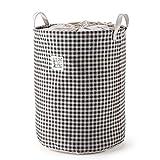 MEE'LIFE Wäschekorb, Wäschebekleidung Sorters Wäscherei Hampers Clothes Organisation mit Baumwoll- und Leinenmaterial (Braun)