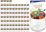 MamboCat 75er Set Rundgläser 212 ml Nieder Deckelfarbe Obst Dekor to 66 inkl. Diamant Gelierzauber Rezeptheft, Marmeladengläser, Einmachgläser, Einweckgläser, Gläser