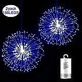 2 Stück Feuerwerk Licht, Kriogor 156LED Hängend Lichterkette, 8 Modi Batterie Lichterketten, IP64 Wasserdicht Innen und Außen für Weihnachten Hochzeit Party Garten (Blau)