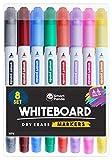 Whiteboard-Marker von SmartPanda - Doppelspitze, Medium und Fein - Trocken abwischbar, perfekt für Zuhause, Schule oder Büro - 8er Set verschiedene Farben (8)