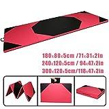 CCLIFE Rose+Schwarz Weichbodenmatte Turnmatte Tragbar Klappbar Gymnastikmatte Yogamatte Fitnessmatte 300x120x5/240x120x5/180x80x5cm Großauswahl, Größe:180x80x5cm