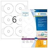 Herma 8619 CD-Etiketten blickdicht für kleine Mini-CDs (Ø 78 mm auf DIN A4 Papier, matt) 60 Stück auf 10 Blatt, weiß, mit Zentrierhilfe, PC-bedruckbar, selbstklebend